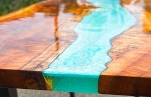 Table riviere en resine epoxy
